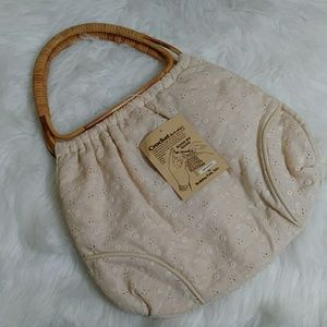 Handbags - VTG. Hand Made Crochet Wicker Handle Hand Bag